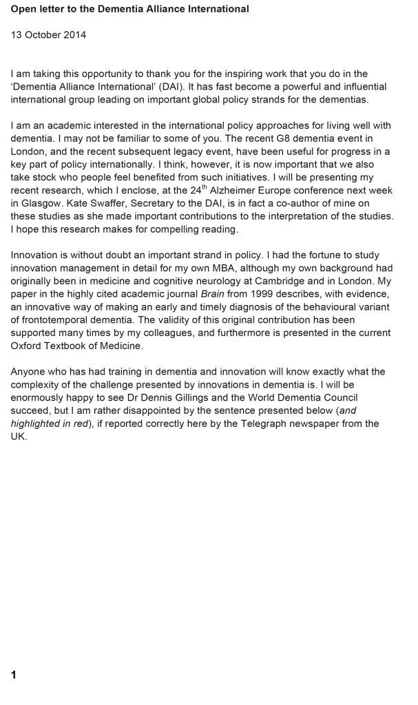 Open letter to the Dementia Alliance International
