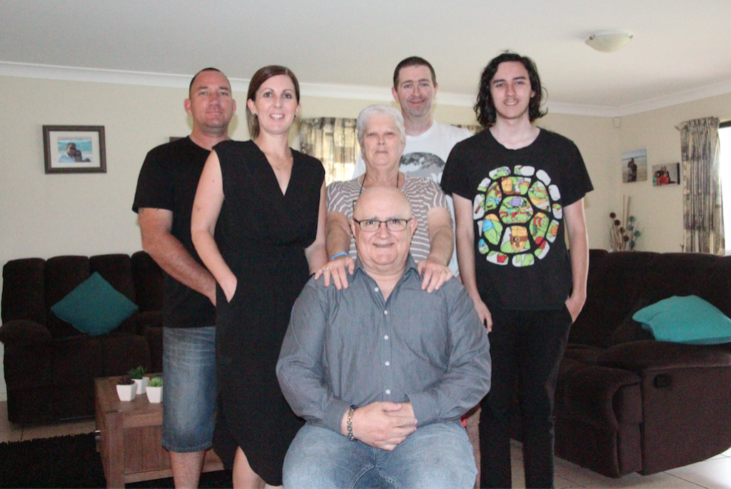 Mick Carmody with his family in Brisbane